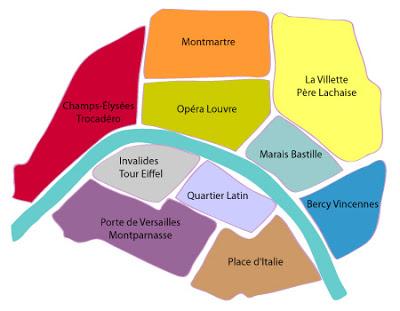 mapa bairros paris