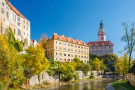 Castle tower in Cesky Krumlov, Czech republic. Sunny autumn day. UNESCO World Heritage Site