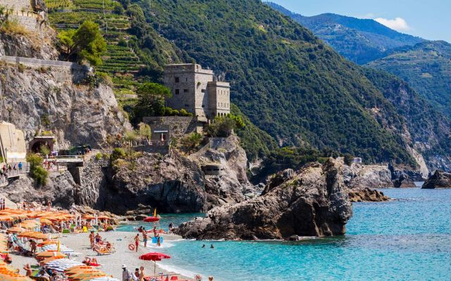 A beach viewpoint of Monterosso al Mare, the first village stop at Cinque Terre National Park